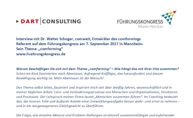 Interview mit Walter Schoger, Referent auf dem Führungskongress
